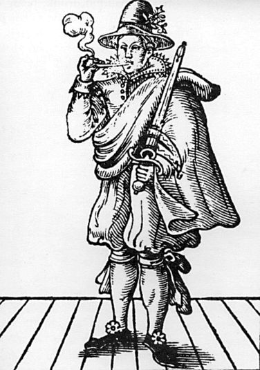 An early-day print of Moll Cutpurse, notorious pickpocket