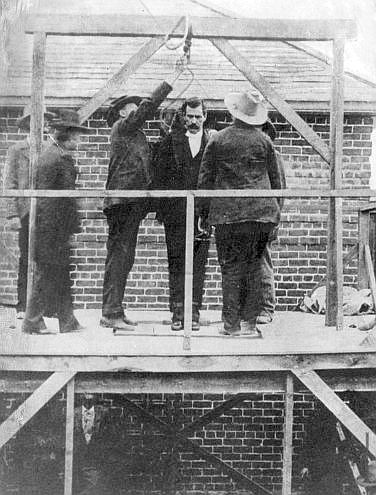 The hanging of western outlaw Black Jack Ketchum on April 25, 1901, on
