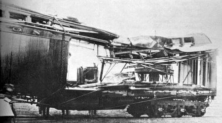 An express car blown to pieces during the train robbery